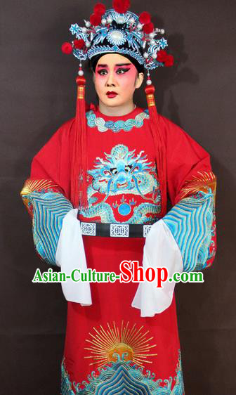 Traditional China Beijing Opera Niche Costume Red Embroidered Robe, Chinese Peking Opera Gifted Scholar Clothing
