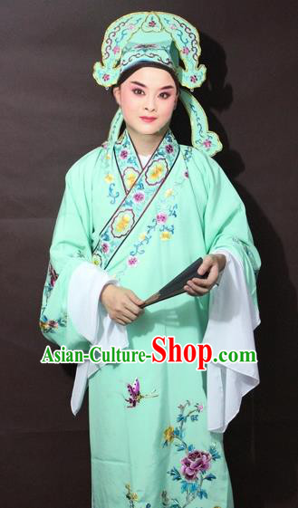 Traditional China Beijing Opera Niche Costume Green Embroidered Robe, Chinese Peking Opera Gifted Scholar Clothing