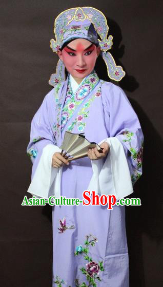 Traditional China Beijing Opera Niche Costume Purple Embroidered Robe, Chinese Peking Opera Gifted Scholar Clothing