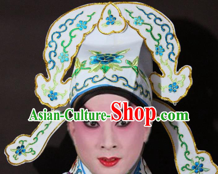 Traditional China Beijing Opera Niche Embroidered White Hats, Chinese Peking Opera Gifted Scholar Headwear