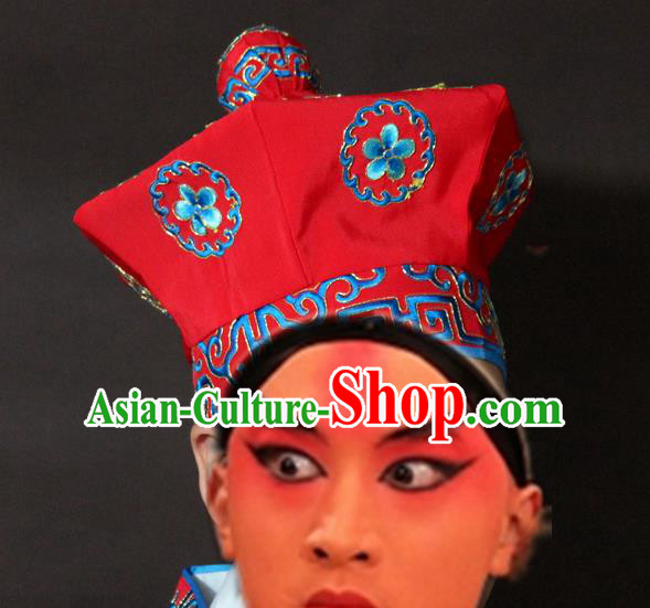 Traditional China Beijing Opera Takefu Embroidery Hats, Chinese Peking Opera Imperial Bodyguard Embroidered Headwear