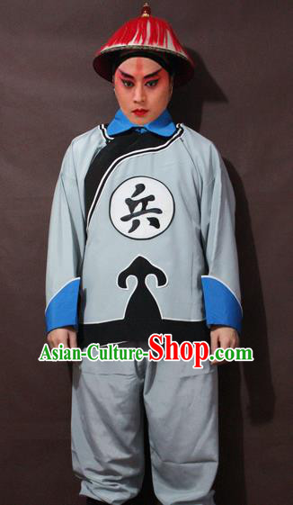 Traditional China Beijing Opera Imperial Bodyguard Costume, Chinese Peking Opera Qing Dynasty Warrior Clothing