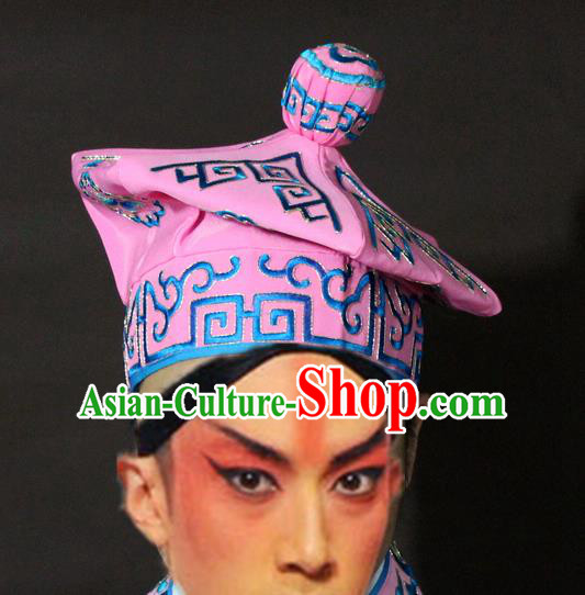 Traditional China Beijing Opera Takefu Pink Hats, Chinese Peking Opera Imperial Bodyguard Embroidered Headwear