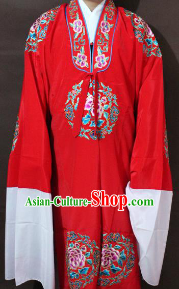 Traditional China Beijing Opera Niche Costume Red Embroidered Robe, Chinese Peking Opera Lang Scholar Clothing