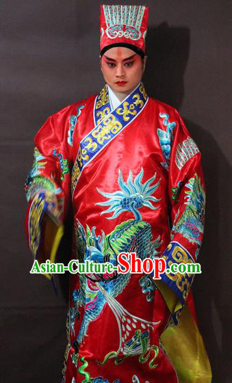 Traditional China Beijing Opera Taoist Costume Red Embroidered Robe, Chinese Peking Opera Embroidery Gwanbok Clothing