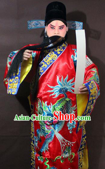 Traditional China Beijing Opera God of Wealth Costume Red Embroidered Robe, Chinese Peking Opera Embroidery Gwanbok Clothing