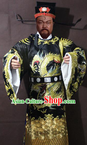 Traditional China Beijing Opera Prime Minister Costume Black Embroidered Robe, Chinese Peking Opera Bao Zheng Gwanbok Clothing