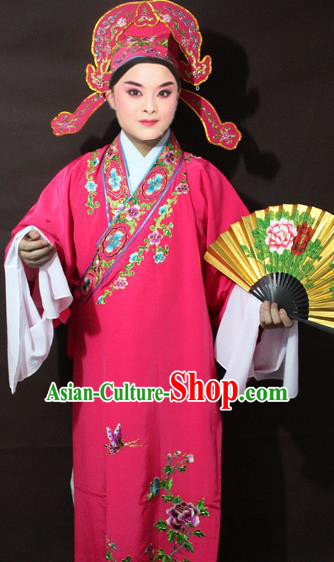 Traditional China Beijing Opera Niche Embroidery Costume, Chinese Peking Opera Lang Scholar Pink Embroidered Robe Clothing