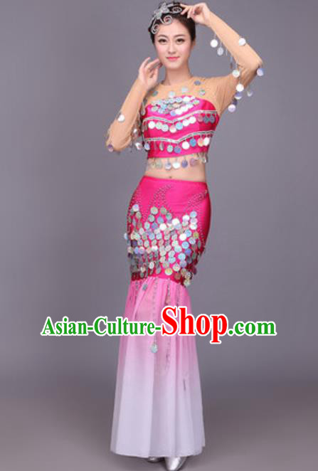 Chinese Traditional Dai Nationality Peacock Dance Costume Pavane Sequins Rosy Dress for Women