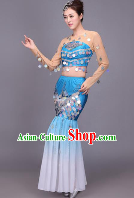 Chinese Traditional Dai Nationality Peacock Dance Costume Pavane Sequins Blue Dress for Women