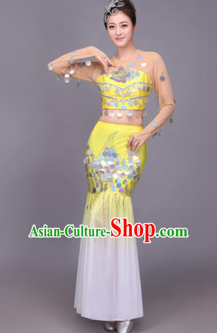 Chinese Traditional Dai Nationality Peacock Dance Costume Pavane Sequins Yellow Dress for Women