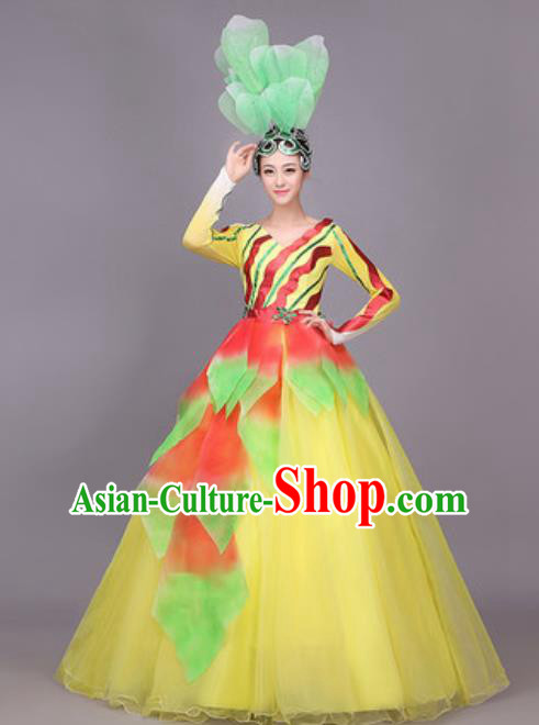 Professional Opening Dance Costume Stage Performance Modern Dance Yellow Dress for Women