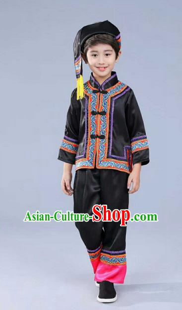 Chinese Traditional Miao Nationality Dance Costume Folk Dance Ethnic Black Clothing for Kids
