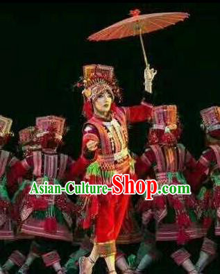Chinese Traditional Yi Nationality Dance Costume Folk Dance Ethnic Clothing for Women