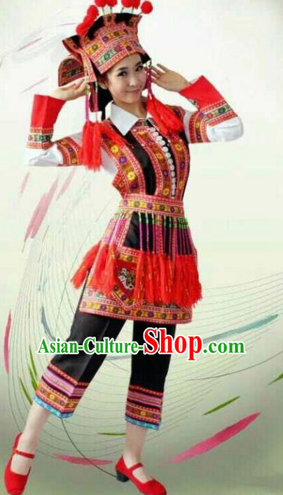 Chinese Traditional Yi Nationality Costume Folk Dance Ethnic Red Clothing for Women