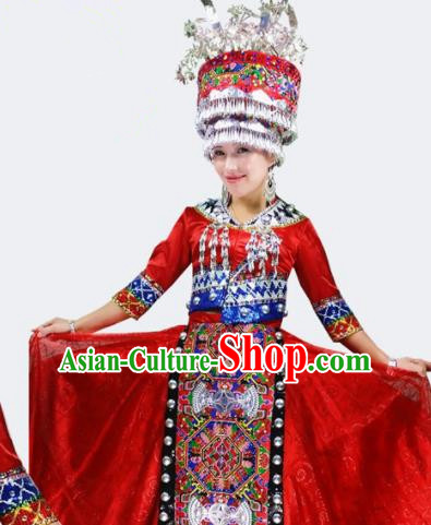Chinese Traditional Miao Nationality Bride Costume Folk Dance Ethnic Red Clothing for Women