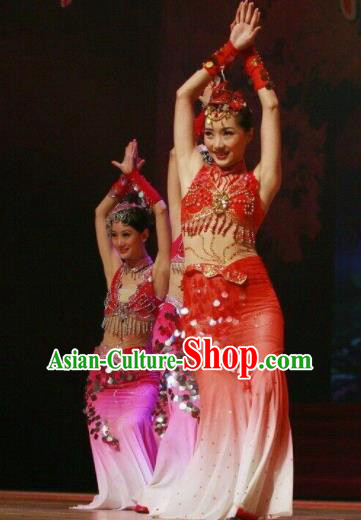 Chinese Traditional Dai Nationality Costume Folk Dance Peacock Ethnic Red Clothing for Women