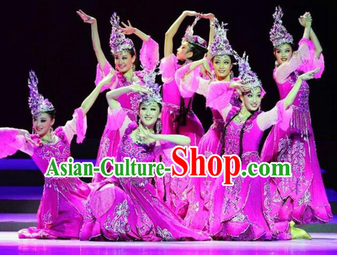 Chinese Traditional Uyghur Nationality Costume Uigurian Folk Dance Ethnic Clothing for Women