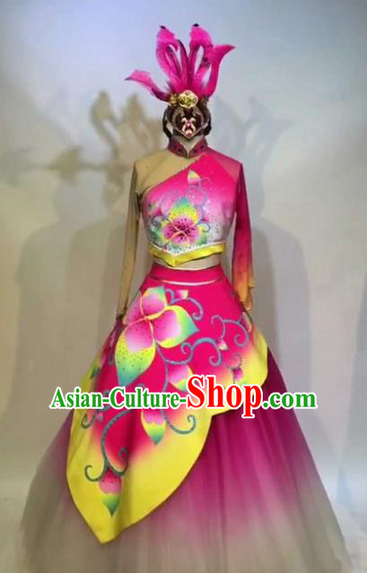 Chinese Traditional Folk Dance Costume Classical Lotus Dance Pink Dress for Women