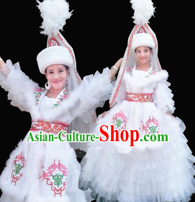 Chinese Traditional Kazak Nationality Wedding Costume Folk Dance Ethnic White Dress for Women