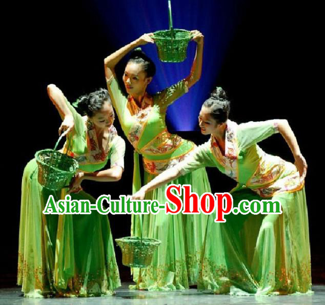 Chinese Traditional Classical Dance Costume Folk Fan Dance Dress for Women