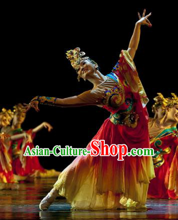 Chinese Traditional Classical Dance Costume Folk Dance Clothing for Women