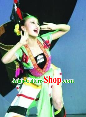 Chinese Traditional Yao Nationality Costume Folk Dance Ethnic Clothing for Women