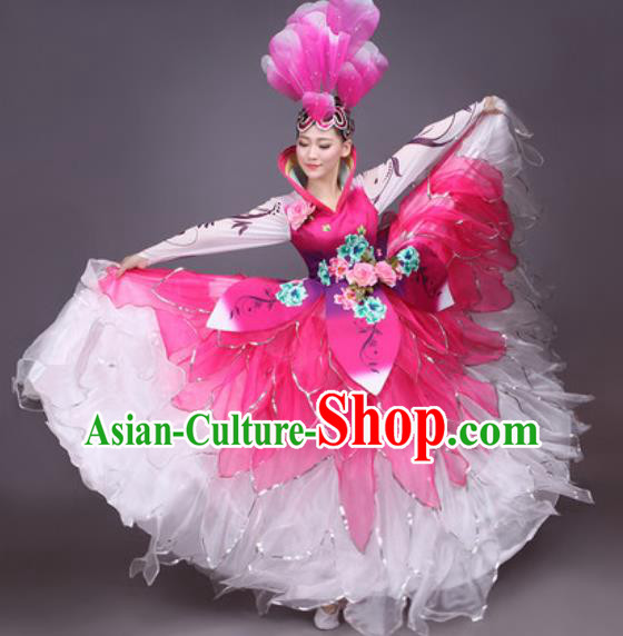Chinese Traditional Classical Dance Costume Folk Dance Flowers Dress for Women