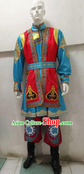 Chinese Traditional Mongol Nationality Costume Mongolian Folk Dance Ethnic Clothing for Men
