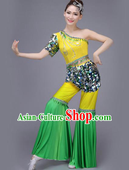Chinese Classical Dance Costume Traditional Folk Dance Yangko Yellow Clothing for Women