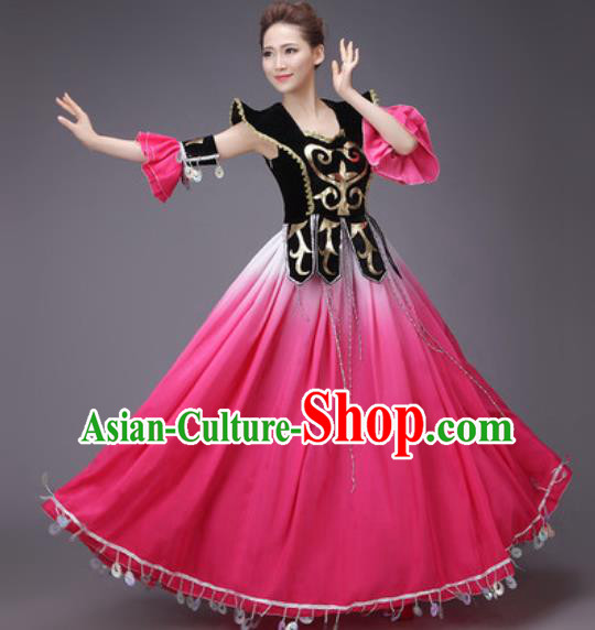 Chinese Traditional Uyghur Nationality Costume Uigurian Folk Dance Ethnic Rosy Dress for Women