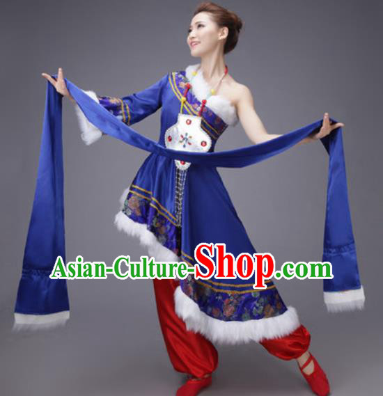 Chinese Traditional Zang Nationality Dance Costume Tibetan Folk Dance Ethnic Royalblue Dress for Women
