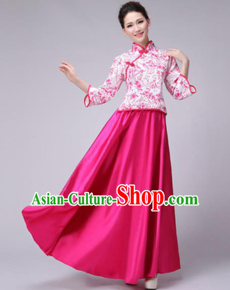 Chinese Classical Dance Fan Dance Costume Traditional Folk Dance Chorus Rosy Dress for Women