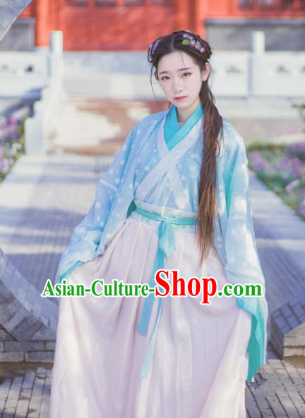 Chinese Traditional Ancient Costumes Jin Dynasty Palace Lady Hanfu Dress for Women