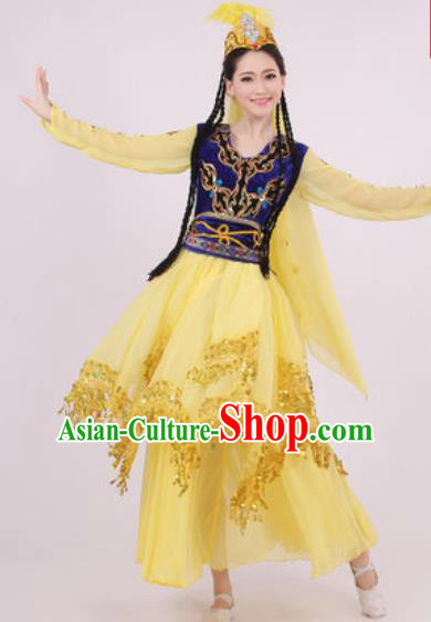 Chinese Traditional Uyghur Nationality Yellow Dress Uigurian Minority Folk Dance Ethnic Costume for Women