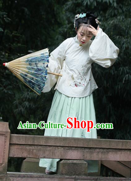 Chinese Traditional Ancient Embroidered Costumes Ming Dynasty Palace Princess Hanfu Dress for Women