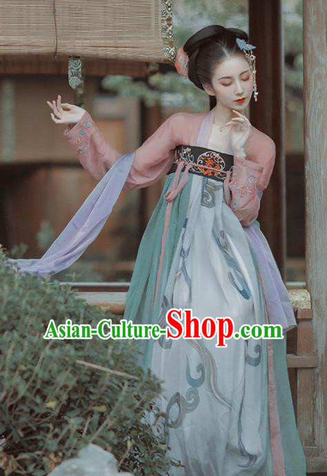 Chinese Ancient Imperial Consort Embroidered Costumes Traditional Tang Dynasty Princess Hanfu Dress for Women