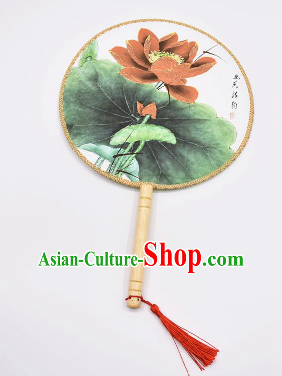 Chinese Ancient Palace Fans Handmade Traditional Printing Lotus Green Silk Round Fans for Women