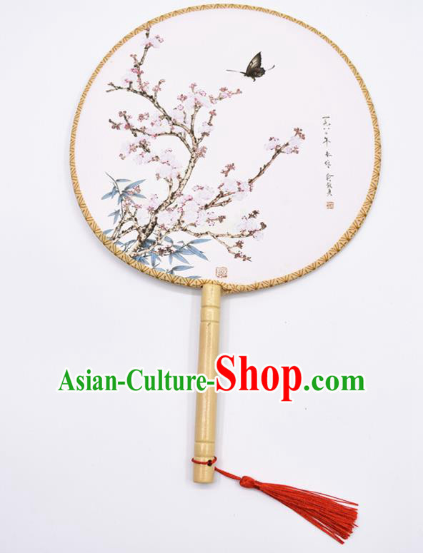 Chinese Ancient Palace Fans Handmade Traditional Printing Silk Round Fans for Women