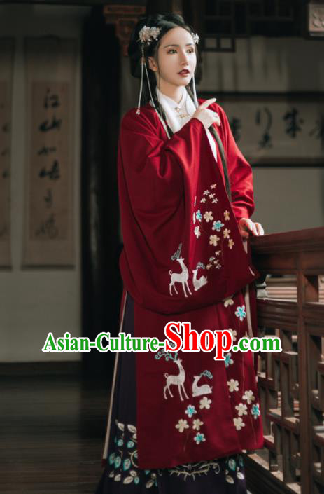 Chinese Ancient Embroidered Costumes Ming Dynasty Princess Red Hanfu Dress for Women
