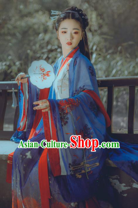 Chinese Ancient Young Lady Embroidered Costumes Jin Dynasty Princess Hanfu Dress for Women
