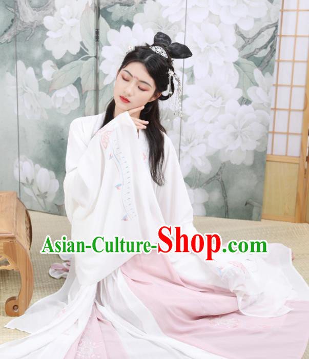 Ancient Chinese Tang Dynasty Imperial Concubine Costumes Embroidered Hanfu Dress for Rich