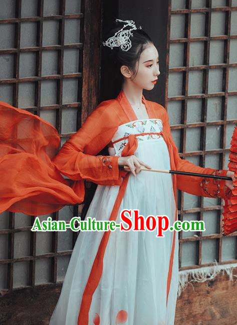 Chinese Traditional Tang Dynasty Palace Lady Costumes Ancient Peri Goddess Embroidered Hanfu Dress for Rich