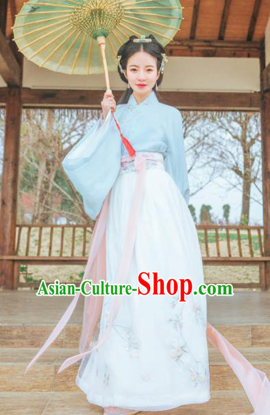 Chinese Traditional Jin Dynasty Nobility Lady Costumes Ancient Peri Goddess Embroidered Hanfu Dress for Rich