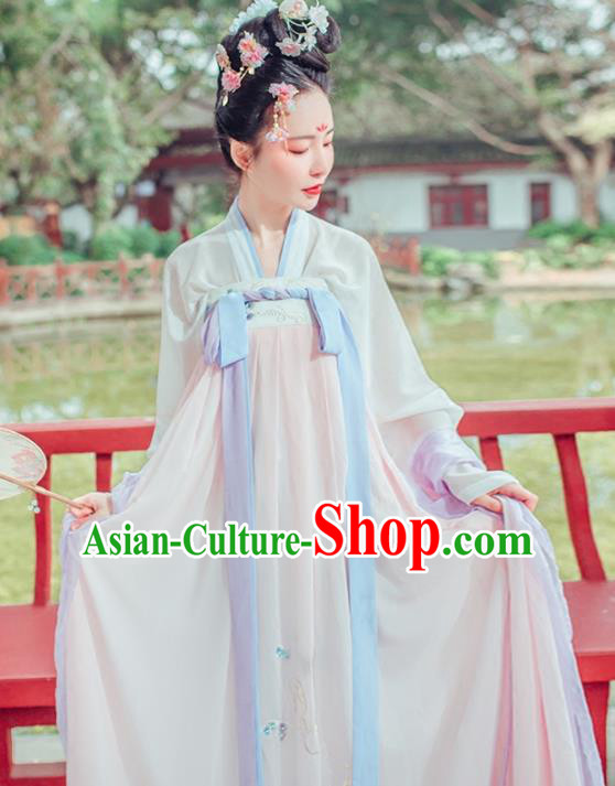 Chinese Traditional Tang Dynasty Princess Palace Lady Embroidered Costumes Complete Set