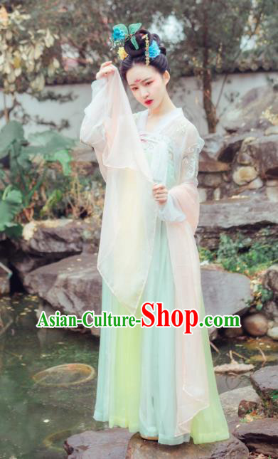 Chinese Traditional Tang Dynasty Las Meninas Court Maid Embroidered Costumes Complete Set