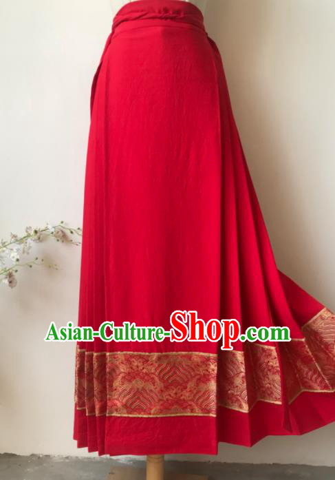 Chinese Ming Dynasty Princess Costume Ancient Nobility Lady Red Skirt for Women