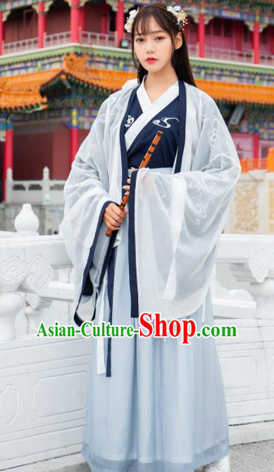 Ancient Chinese Jin Dynasty Historical Costumes Nobility Lady Embroidered Hanfu Dress for Women