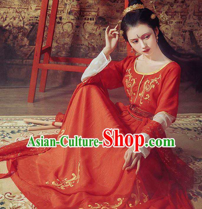 Chinese Tang Dynasty Princess Historical Costumes Ancient Peri Embroidered Red Hanfu Dress for Women