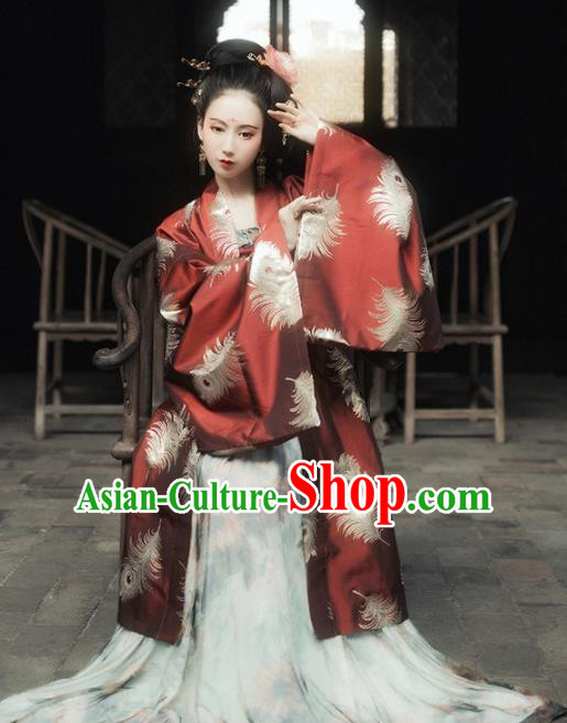 Chinese Tang Dynasty Imperial Consort Historical Costumes Ancient Peri Embroidered Red Hanfu Dress for Women